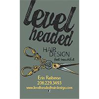 Level Headed Hair Design Business Card